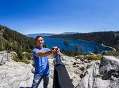 Selfie in Emerald bay — Stock Photo