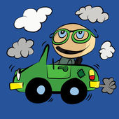 Polluting Environment Car Smog : Cartoon — Stock Vector