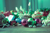 Christmas and New Year decoration on wooden background — Stockfoto