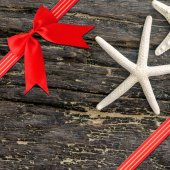 Red ribbon with corner bow — Stock Photo