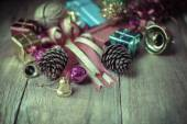 Christmas garland on rustic wooden background with copy space — Stock Photo