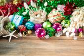 Christmas and New Year decoration on wooden background — Stock Photo
