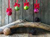 Christmas and New Year decoration on wooden background — Foto Stock