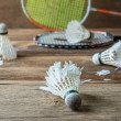 Set of badminton. Paddle and the shuttlecock — Stock Photo #60134063
