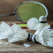 Set of badminton. Paddle and the shuttlecock — Stock Photo #60237971