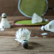 Set of badminton. Paddle and the shuttlecock — Stock Photo #60238133