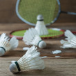 Set of badminton. Paddle and the shuttlecock — Stock Photo #60482007