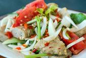 Thai cuisine spicy pork salad, Yum Moo Yor — Stock Photo