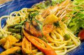 Spaghetti with Spicy Prawn — Stock Photo