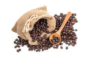Coffee beans in bag isolated on white background — Stock Photo