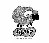 Hipster Doodle Funny sheep — Stock Vector