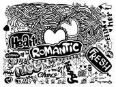 Hipster Love doodles Background,drawing style — Stock Vector
