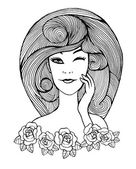 Woman face with long hair Hand draw Doodle style — Stok Vektör