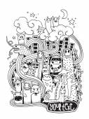 Hand drawn Crazy doodle Monster City — Stock Vector