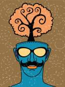 Hipster hand drawn human head with tree — ストックベクタ