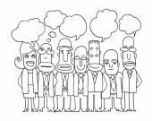 İş Kişilik ekibin ayağa ve konuşma balonları konuşmak — Stok Vektör