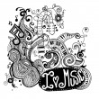 I Love Music Sketchy Notebook Doodles  and Swirls Hand-Drawn — Stock Vector #80706672