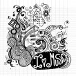 I Love Music Sketchy Notebook Doodles  and Swirls Hand-Drawn — Stock Vector #80706724