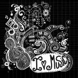 I Love Music Sketchy Notebook Doodles  and Swirls Hand-Drawn — Stock Vector #80706776