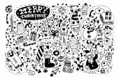 Hand drawn Christmas icon's set doodle — Stock Vector