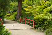 Wooden Japanese Foot Bridge — Stock Photo