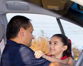 Daughter Affectionately Greets Father — Stock Photo