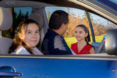 Father Sends Daughter Off To Cheerleader Practice — Stock Photo