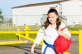 Martial Arts Student Gets Ride to Practice — Stock Photo