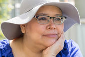 Cancer Patient Wears Hat For Sun Protection — Stock Photo