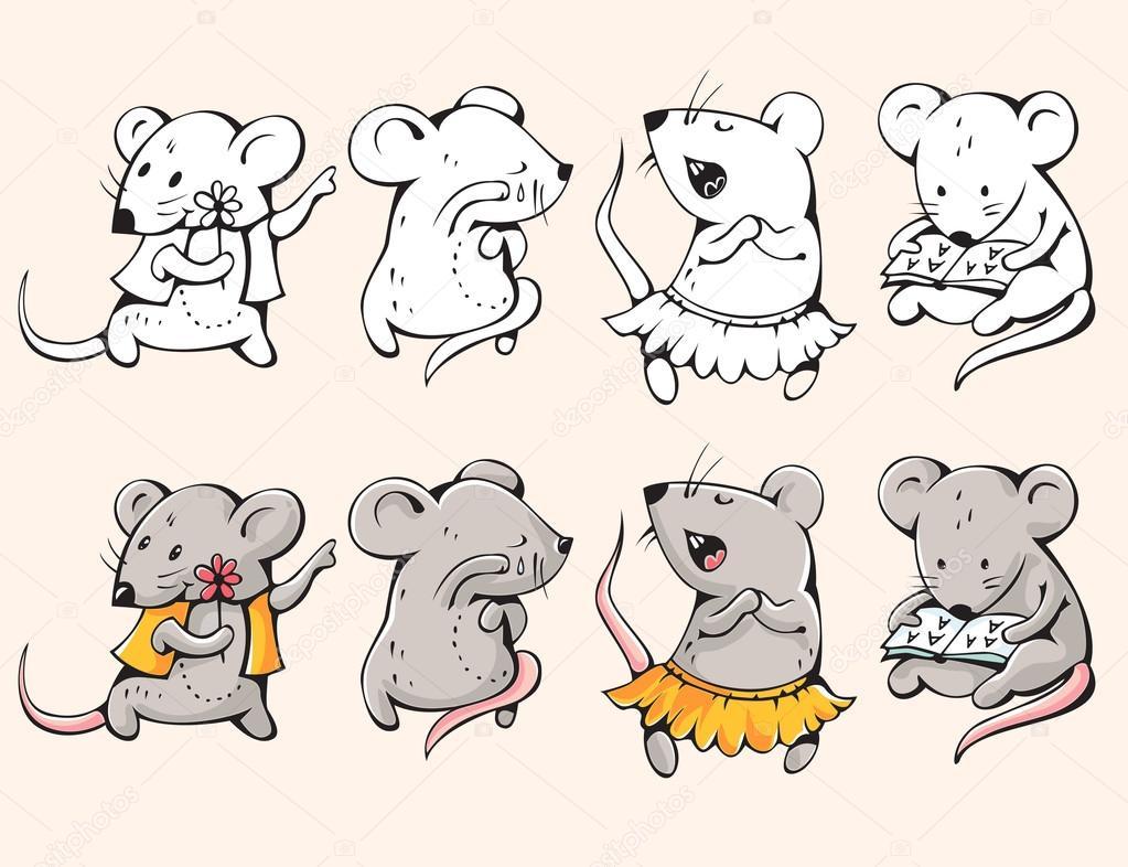 Imagenes De Raton Es Animados Conjunto De Ratones Dibujos