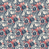 Seamless pattern with flowers and leaves — Stock Vector