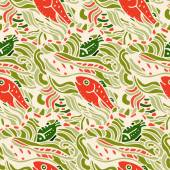 Seamless pattern with fishes — Stock Vector