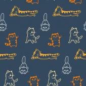 Funny cartoon kittens pattern — Wektor stockowy