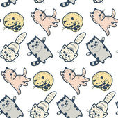 Funny cartoon kittens pattern — Stock Vector