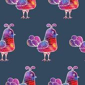 Seamless pattern with watercolor birds — Wektor stockowy