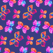 Pattern with watercolor butterflies. — Stock Photo