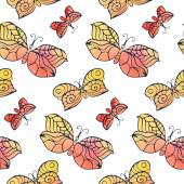 Pattern with watercolor butterflies — Stock Vector
