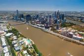 Aerial image of Brisbane River, City and South Bank, Queensland  — Stock Photo