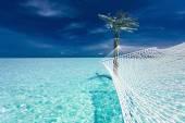 Empty over-water hammock — Stock Photo