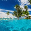 Swimming pool on the beach with palm trees — Stock Photo #69378963