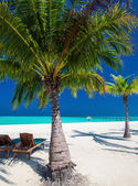 Deck chairs under umrellas on a beach — Stock Photo