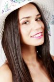 Young beautiful caucasian brunette posing on white — Stock Photo