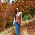 Young brunette woman portrait in autumn color — Stock Photo #56136515