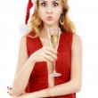 Beautiful elegant woman in red dress with a glass of champagne c — Stock Photo #59955109