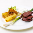 Plate with beef and potatoes and gravy — Stock Photo #63279591