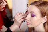 Makeup. Make-up. Eyeshadows. Eye shadow brush — Stock Photo