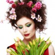 Beauty Spring Girl with Flowers Hair Style. Beautiful Model woma — Stock Photo #67730907