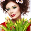 Beauty Spring Girl with Flowers Hair Style. Beautiful Model woma — Stock Photo #67730919