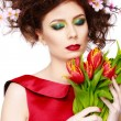 Beauty Spring Girl with Flowers Hair Style. Beautiful Model woma — Foto de Stock   #67731033