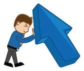Pushing Large Arrow - Vector Character Illustration — Vector de stock